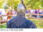 Купить «Russia, Samara, September 2018: Spectacular staged battles of Slavic warriors and knights at the festival in Zagorodny Park.», фото № 30522846, снято 16 сентября 2018 г. (c) Акиньшин Владимир / Фотобанк Лори