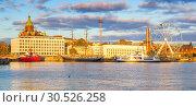 Купить «Helsinki harbor at sunset», фото № 30526258, снято 9 октября 2015 г. (c) Sergey Borisov / Фотобанк Лори