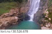 Купить «Oniore Waterfall in Georgia», видеоролик № 30526678, снято 10 марта 2019 г. (c) Serg Zastavkin / Фотобанк Лори