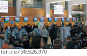 Купить «Busy and crowded Terminal at Sheremetyevo Airport in Moscow, Russia», видеоролик № 30526970, снято 22 декабря 2017 г. (c) Данил Руденко / Фотобанк Лори