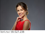Купить «portrait of beautiful young woman in red dress», фото № 30527238, снято 20 января 2019 г. (c) Syda Productions / Фотобанк Лори