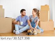 Купить «happy couple with boxes and dog moving to new home», фото № 30527398, снято 4 июня 2017 г. (c) Syda Productions / Фотобанк Лори