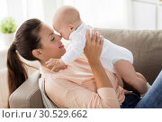 Купить «happy mother with little baby boy at home», фото № 30529662, снято 1 сентября 2017 г. (c) Syda Productions / Фотобанк Лори