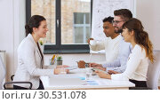 Купить «recruiters having interview with employee», видеоролик № 30531078, снято 29 марта 2019 г. (c) Syda Productions / Фотобанк Лори