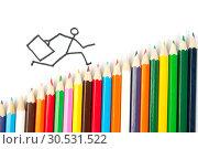 Купить «Drawn person running on a ladder», фото № 30531522, снято 19 июля 2010 г. (c) Tryapitsyn Sergiy / Фотобанк Лори