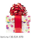 Gift with big red bow and ribbon. Стоковое фото, фотограф Tryapitsyn Sergiy / Фотобанк Лори