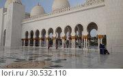 Купить «Abu Dhabi, UAE - March 31. 2019. Tourists in Sheikh Zayd Grand Mosque», видеоролик № 30532110, снято 6 апреля 2019 г. (c) Володина Ольга / Фотобанк Лори