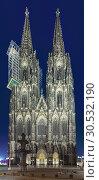 Купить «Западный фасад Кёльнского собора в сумерках, Германия», фото № 30532190, снято 14 марта 2012 г. (c) Михаил Марковский / Фотобанк Лори