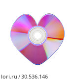 Купить «Close-up of colorful CD heart», фото № 30536146, снято 20 января 2011 г. (c) Tryapitsyn Sergiy / Фотобанк Лори
