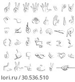 Silhouette sketches of hand signs. Стоковое фото, фотограф Tryapitsyn Sergiy / Фотобанк Лори