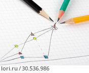 Купить «Success business sketch with three pencils», фото № 30536986, снято 20 апреля 2011 г. (c) Tryapitsyn Sergiy / Фотобанк Лори
