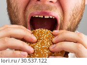 Купить «Man eating hamburger», фото № 30537122, снято 1 мая 2011 г. (c) Tryapitsyn Sergiy / Фотобанк Лори