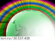 Купить «Green glass globe with colorful shining», фото № 30537438, снято 24 июня 2011 г. (c) Tryapitsyn Sergiy / Фотобанк Лори