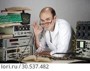 Купить «Scientist at vintage laboratory», фото № 30537482, снято 6 июля 2011 г. (c) Tryapitsyn Sergiy / Фотобанк Лори