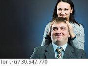 Купить «Two young business people talking and discussing», фото № 30547770, снято 6 февраля 2014 г. (c) Tryapitsyn Sergiy / Фотобанк Лори