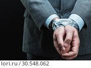 Купить «Man with hands covered by masking tape», фото № 30548062, снято 21 апреля 2014 г. (c) Tryapitsyn Sergiy / Фотобанк Лори