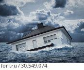 Купить «White house in water, flood», фото № 30549074, снято 8 июня 2014 г. (c) Tryapitsyn Sergiy / Фотобанк Лори