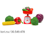 Купить «Fresh food and kitchen scales on a white background», фото № 30549478, снято 19 мая 2014 г. (c) Ласточкин Евгений / Фотобанк Лори