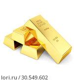Купить «Four gold bars», фото № 30549602, снято 8 декабря 2019 г. (c) Tryapitsyn Sergiy / Фотобанк Лори