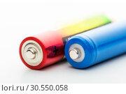 Купить «Two batteries on a white background», фото № 30550058, снято 12 ноября 2014 г. (c) Tryapitsyn Sergiy / Фотобанк Лори