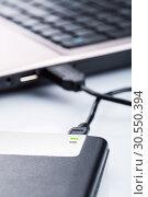 Купить «External storage drive connecting with computer», фото № 30550394, снято 3 декабря 2014 г. (c) Tryapitsyn Sergiy / Фотобанк Лори