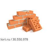Купить «Stack of red bricks», фото № 30550978, снято 12 июля 2020 г. (c) Tryapitsyn Sergiy / Фотобанк Лори