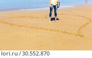Купить «Woman on the seashore», фото № 30552870, снято 18 июля 2015 г. (c) Tryapitsyn Sergiy / Фотобанк Лори
