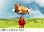 Купить «Little girl in costume holding a big cow», фото № 30553614, снято 8 августа 2015 г. (c) Tryapitsyn Sergiy / Фотобанк Лори