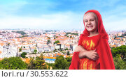 Купить «Superhero little girl», фото № 30553622, снято 15 июля 2015 г. (c) Tryapitsyn Sergiy / Фотобанк Лори