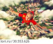 Купить «Super hero girl flying», фото № 30553626, снято 8 августа 2015 г. (c) Tryapitsyn Sergiy / Фотобанк Лори