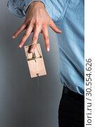 Купить «Businessman's hand in the mousetrap», фото № 30554626, снято 10 февраля 2016 г. (c) Tryapitsyn Sergiy / Фотобанк Лори