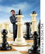 Businessman on the chess board. Стоковое фото, фотограф Tryapitsyn Sergiy / Фотобанк Лори