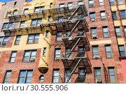 Купить «Facade of brick building.», фото № 30555906, снято 8 июня 2016 г. (c) Tryapitsyn Sergiy / Фотобанк Лори