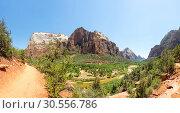 Купить «Virgin nature paniramic view of Zion National Park», фото № 30556786, снято 23 июня 2016 г. (c) Tryapitsyn Sergiy / Фотобанк Лори