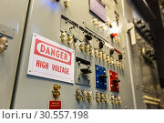 Купить «Military ship high voltage control panel.», фото № 30557198, снято 9 июля 2016 г. (c) Tryapitsyn Sergiy / Фотобанк Лори