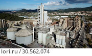 Купить «View from drone of cement plant industrial area, Catalonia, Spain», видеоролик № 30562074, снято 25 декабря 2018 г. (c) Яков Филимонов / Фотобанк Лори