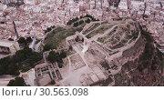 Купить «Panoramic view from drone of the castle Sagunto in summer. Valencian Community», видеоролик № 30563098, снято 19 марта 2019 г. (c) Яков Филимонов / Фотобанк Лори