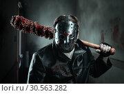 Купить «Serial murderer holding bloody baseball-bat», фото № 30563282, снято 7 ноября 2016 г. (c) Tryapitsyn Sergiy / Фотобанк Лори