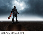 Купить «Bottom view of serial killer in hockey mask», фото № 30563294, снято 7 ноября 2016 г. (c) Tryapitsyn Sergiy / Фотобанк Лори