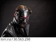 Купить «Bloody murderer in hockey mask portrait», фото № 30563298, снято 7 ноября 2016 г. (c) Tryapitsyn Sergiy / Фотобанк Лори