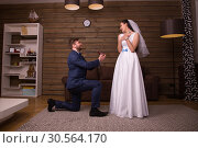 Groom standing on his knees against happy bride. Стоковое фото, фотограф Tryapitsyn Sergiy / Фотобанк Лори