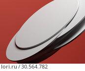 Купить «Pile of random shifted white discs over red», иллюстрация № 30564782 (c) EugeneSergeev / Фотобанк Лори