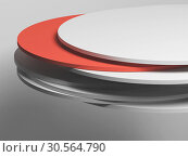 Купить «Random shifted disks over empty white wall», иллюстрация № 30564790 (c) EugeneSergeev / Фотобанк Лори