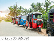 Купить «Tuktuk taxi on road of Sri Lanka Ceylon travel car», фото № 30565390, снято 25 февраля 2017 г. (c) Tryapitsyn Sergiy / Фотобанк Лори
