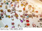 Купить «Gem stone jewelry closeup, Sri Lanka treasures», фото № 30565410, снято 25 февраля 2017 г. (c) Tryapitsyn Sergiy / Фотобанк Лори