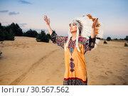 American Indian woman hands up, ritual. Стоковое фото, фотограф Tryapitsyn Sergiy / Фотобанк Лори