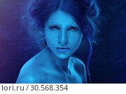 Fantasy woman with blue frost makeup and skin. Стоковое фото, фотограф Tryapitsyn Sergiy / Фотобанк Лори