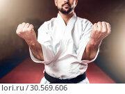 Купить «Martial arts, man in white kimono with black belt», фото № 30569606, снято 13 декабря 2017 г. (c) Tryapitsyn Sergiy / Фотобанк Лори