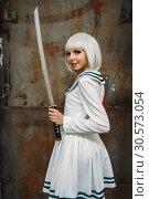 Sexy anime style blonde lady with sword. Стоковое фото, фотограф Tryapitsyn Sergiy / Фотобанк Лори