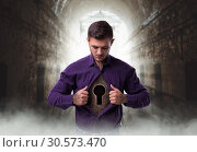 Man with keyhole in chest, lock from the heart. Стоковое фото, фотограф Tryapitsyn Sergiy / Фотобанк Лори